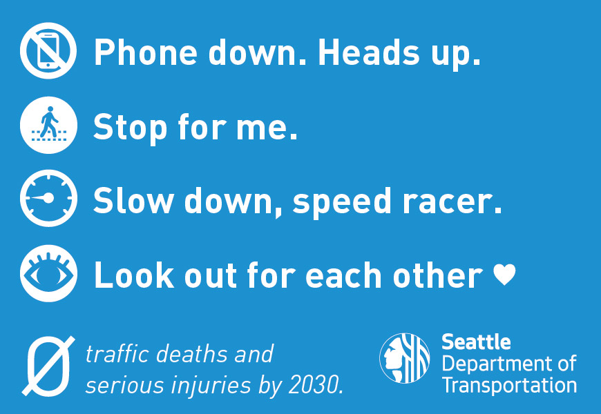 Informational ad for Vision Zero in Seattle