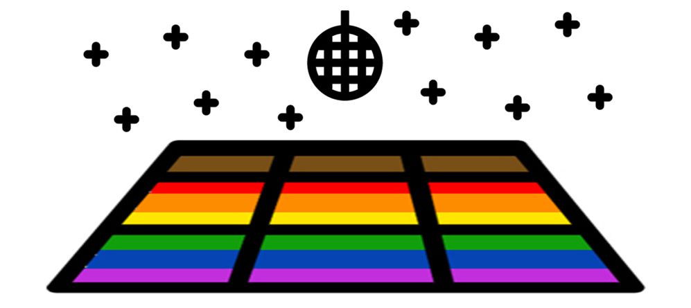 Disco dance floor shaded in the colors of the Pride flag (black, brown, red, orange, yellow, green, blue and purple) with a disco ball over the top and stars