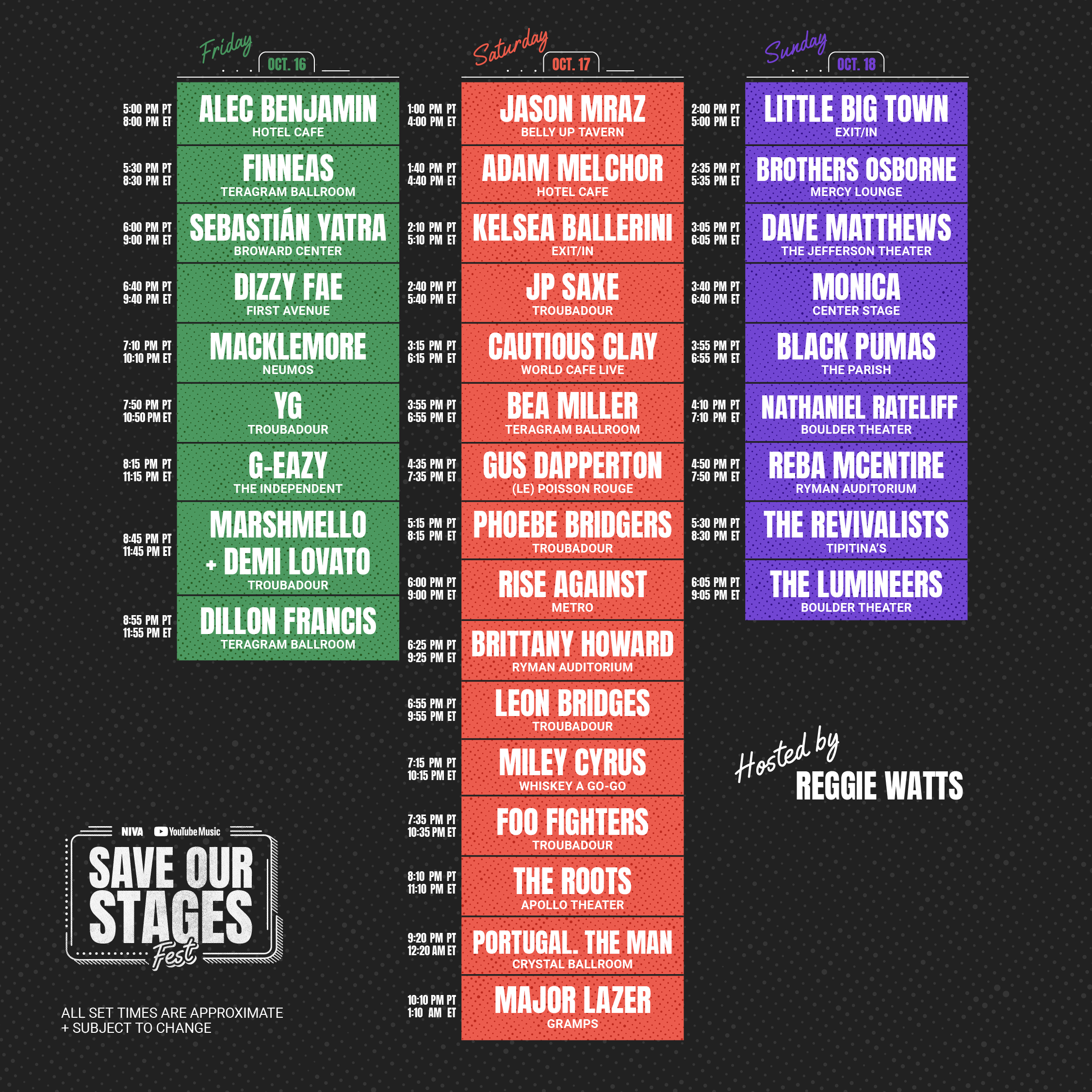 Save Our Stage Lineup