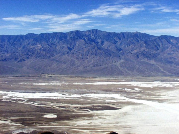 Badwater Basin in Death Valley National Park is the lowest point in North America, 282 feet below sea level. The valley and surrounding mountain ranges are on the western edge of the Basin and Range Province.