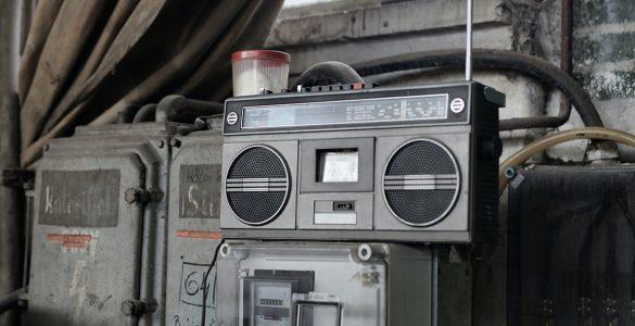 Retro radio tape recorder in workshop