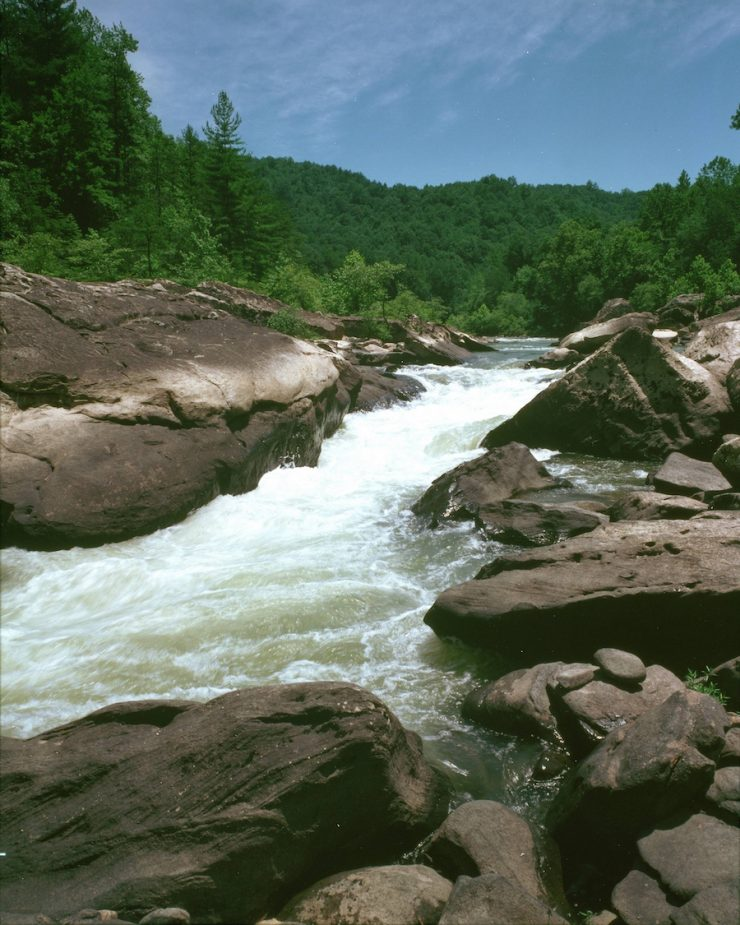 """""""Angel Falls Rapids"""". Angel Falls Rapids is a Class III or IV rapids located below the Leatherwood Ford Area. Credit: Big South Fork National River & Recreation Area, National Parks Service, 2010, public domain"""