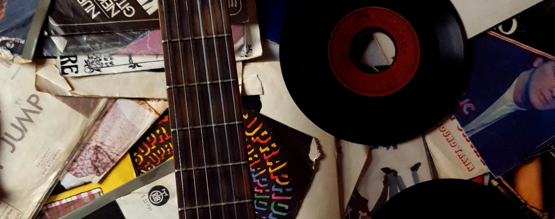Retro records and guitars